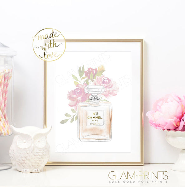 Floral Coco No 5 Perfume Gold Foil Wall Print