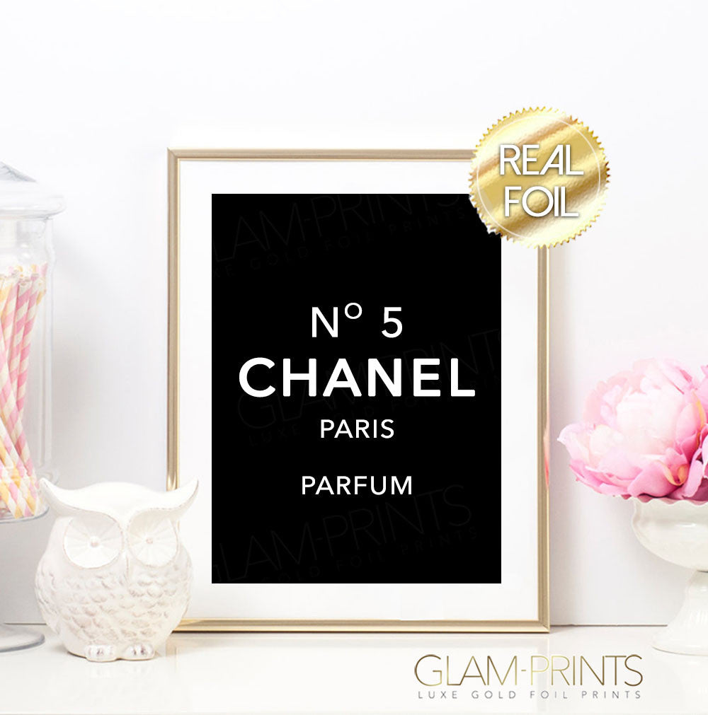 Coco Chanel No 5 Black Gold Foil Wall Print