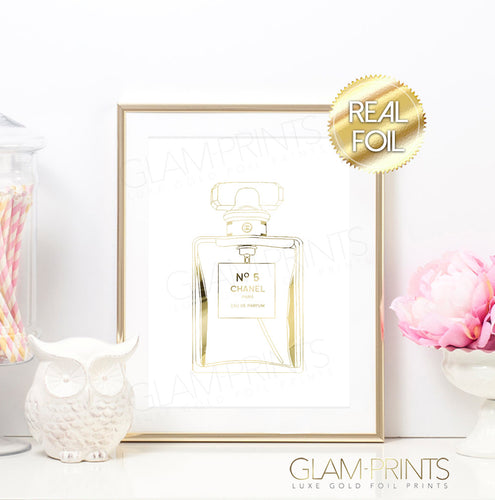 No 5 Chanel Perfume Bottle Gold Foil Wall Print