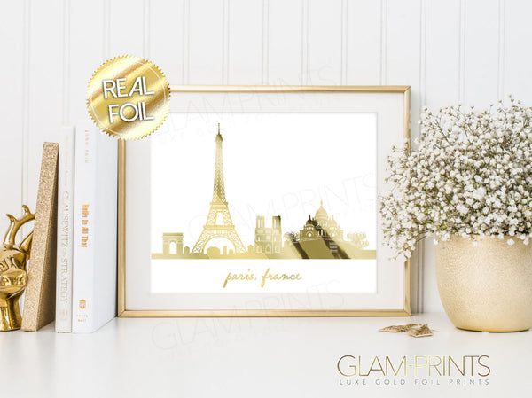 Paris France Skyline Gold Foil Wall Print