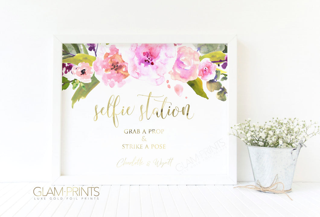 Selfie Station Photo Booth Wedding Bridal Gold Foil Wall Print