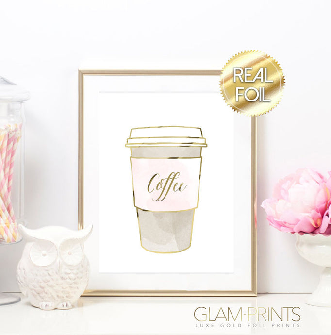 Pink Coffee Cup Gold Foil Wall Print