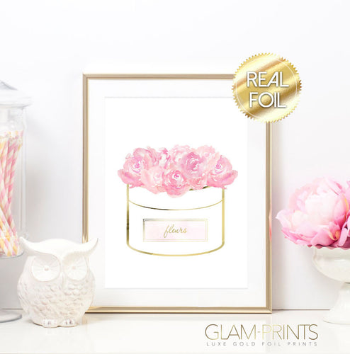 Fleurs Flowers in a Box in Light Pink Gold Foil Wall Print