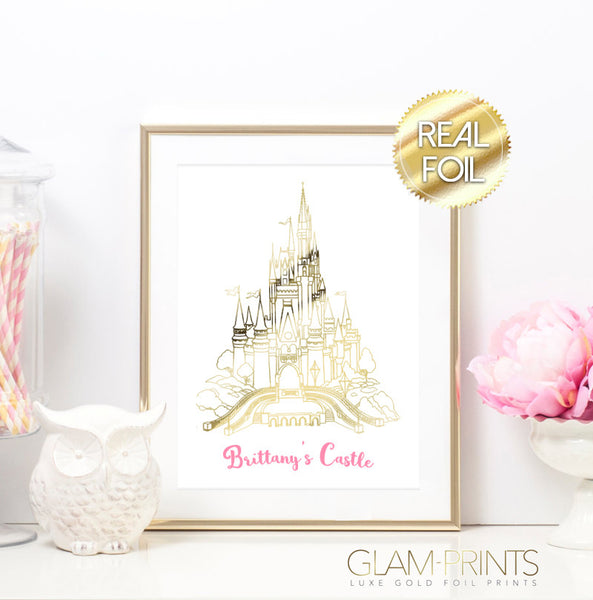 Princess Castle Custom Name Gold Foil Wall Print