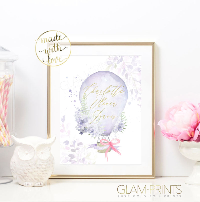 Whimsical Customized Hot Air Balloon Floral Purple Nursery Gold Foil Print