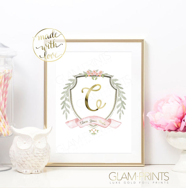 Versailles Floral Custom Name and Initial Nursery Gold Foil Print
