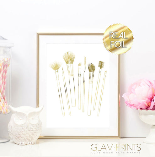 Scattered Makeup Brushes Gold Foil Wall Print