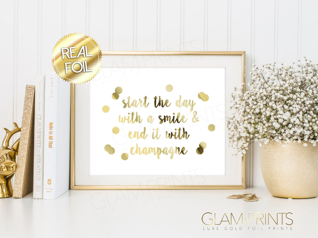 Start the Day with a Smile Champagne Gold Foil Wall Print