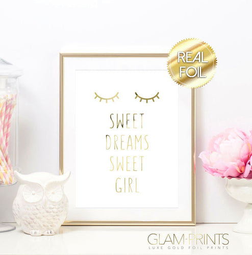 Sweet Dreams Sleeping Lashes Gold Foil Art Print