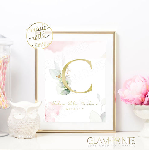 Sweet Welcoming Watercolor Floral Custom Monogram Nursery Gold Foil Print