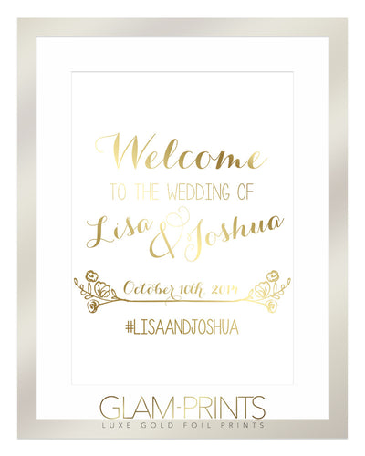 Welcome to the Wedding of Sign Gold Foil Print