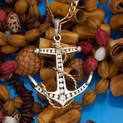 gold and diamond anchor pendant anchor necklace nautical jewelry