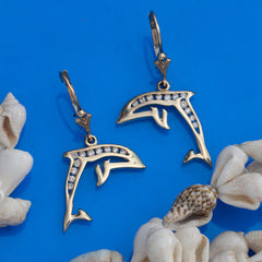 gold and diamond dolphin earrings dolphin jewelry