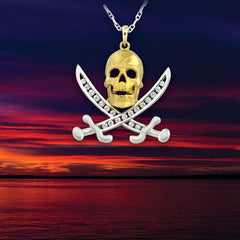 Captain Jack Pirate Pendant Skull and Sword Necklace Pirate Jewelry Nautical Jewelry