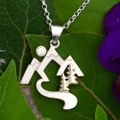 Mountain Stream Necklace with Tree and Moon