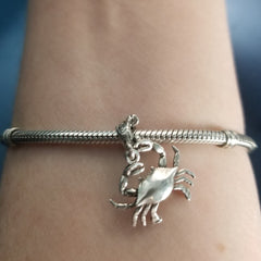 silver crab charm on coral spacer for pandora style bracelets crab jewelry beach crab jewelry beach jewelry