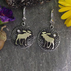 moose disk necklace silver and gold moose earrings moose jewelry