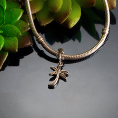 Sterling Silver palm tree charm on coral spacer pandora style palm tree jewelry beach charms
