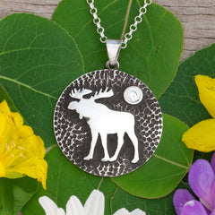 sterling silver moose disk pendant moose jewelry moose necklace