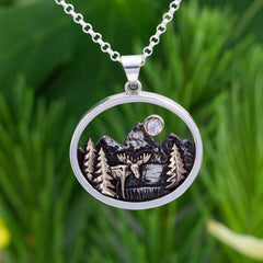 Mountain Moose and Tree Necklace mountain jewelry moose jewelry
