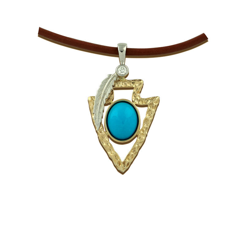 Arrowhead pendant necklace turquoise 14k tt gold with diamonds arrowhead pendant necklace with turquoise 14k tt gold diamond arrowhead jewelry native american jewelry aloadofball Image collections