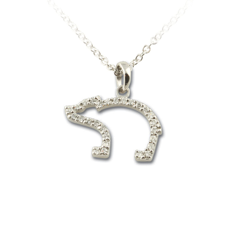 Bear pendant necklace diamond pave silhouette 14k white gold bear pendant necklace pave diamond in 14k wg with chain aloadofball Gallery