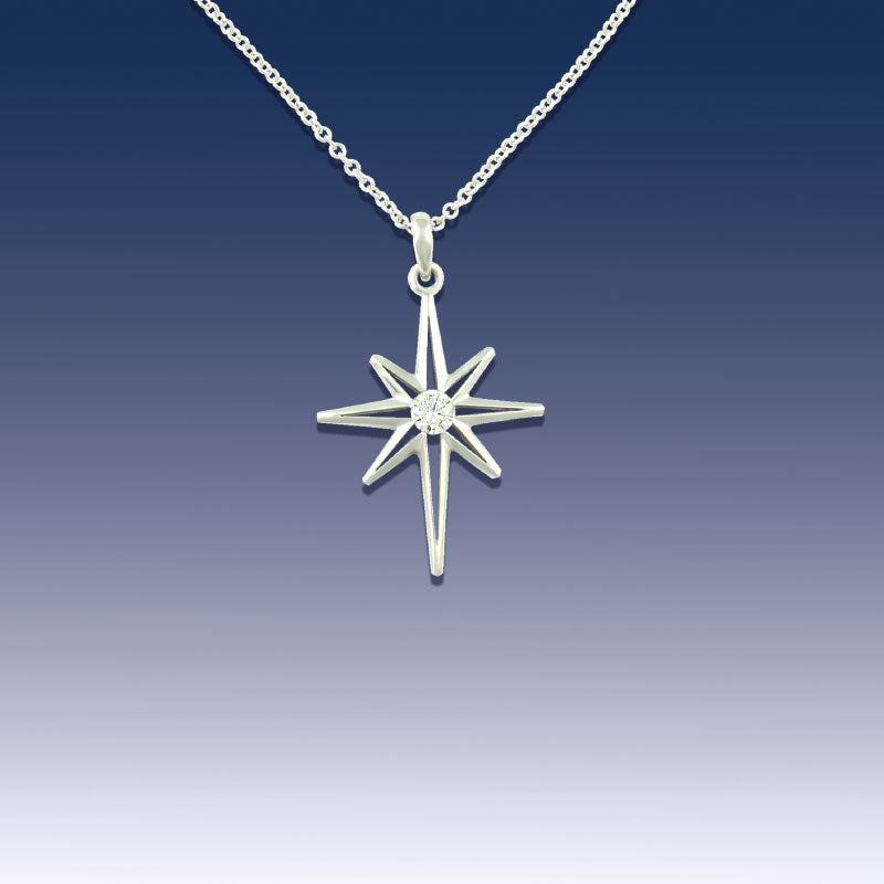 earth necklace north diamond top brilliant star pendant silver