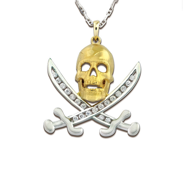 1b73cb30d887c Pirate Pendant Necklace - Skull and Swords - Captain Jack - 14K TT Gold  Skull and Swords with Diamonds - Pirate Jewelry