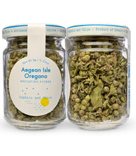 Aegean Isle Oregano from Daphnis and Chloe - Front and Back of Jar
