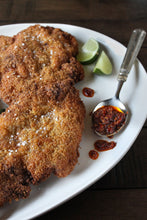Crispy Sambal Chicken Cutlets Made with Hot Chilli Sambal from Auria's Malaysian Chicken