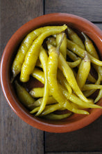 Piparra peppers outside the jar, ready for a tapas party!