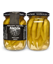 Organic Spanish Piparras Peppers from Aintzia - Front and Back of Jar