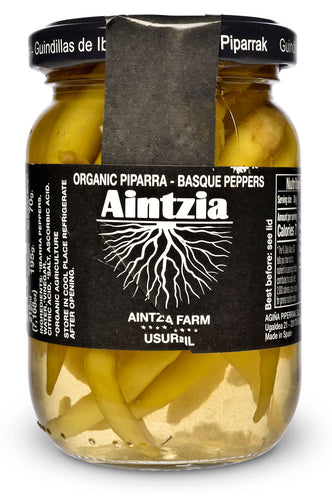 Organic Spanish Piparras Peppers from Aintzia - Front of Jar
