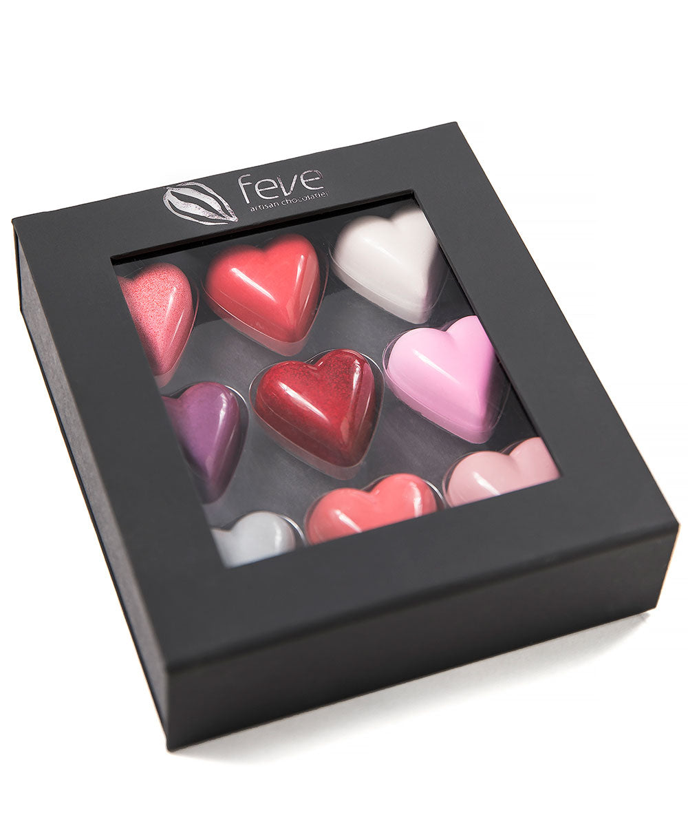 Feve 9-Piece Assorted Chocolate Heart Gift Box - Closed