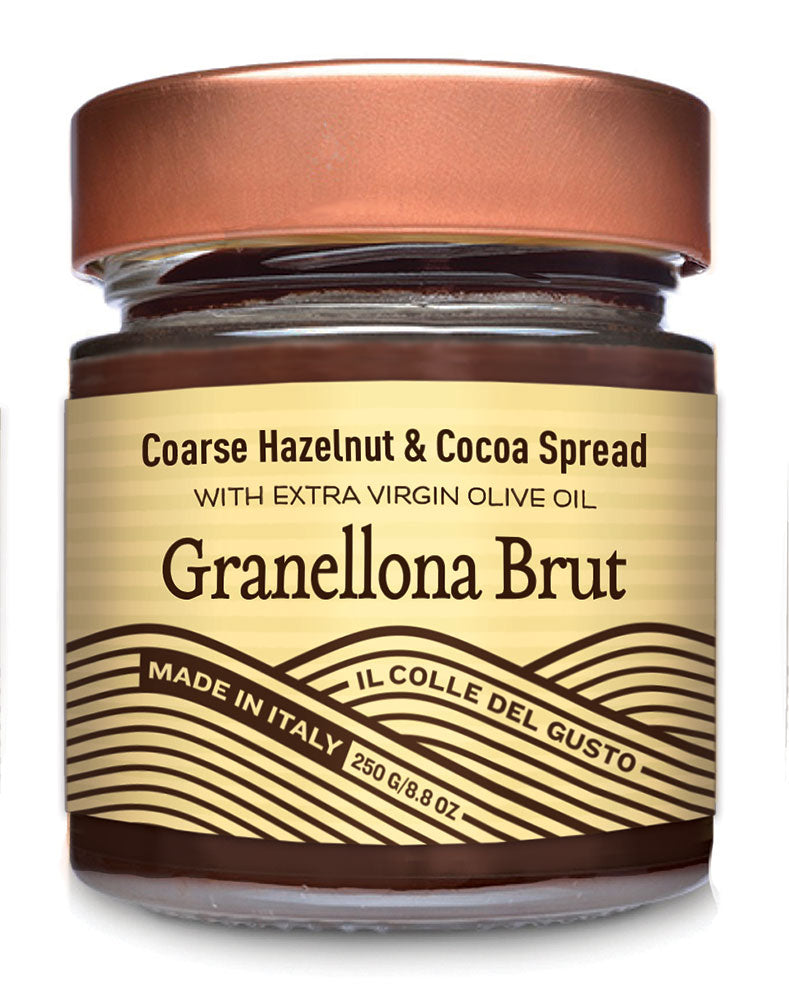 Crunchy Hazelnut Chocolate Spread with Extra Virgin Olive Oil - Granellona Brut