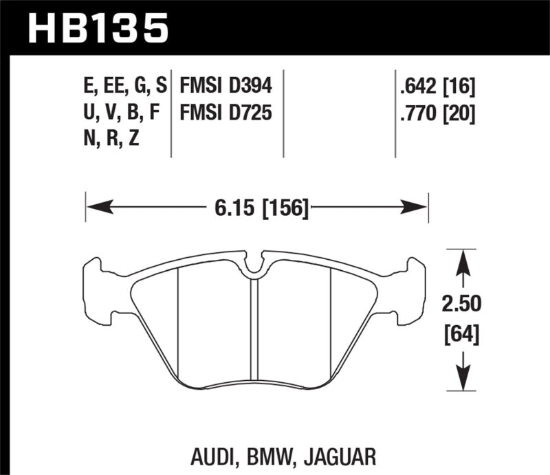 Hawk Performance HPS 5.0 Brake Pad Sets HB135B.760