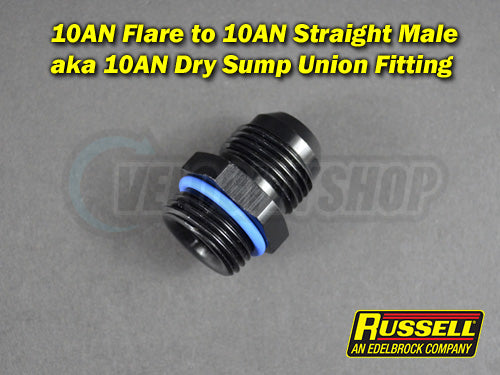 Russell -10AN Flare to -10AN Straight Male Dry Sump Union Fitting
