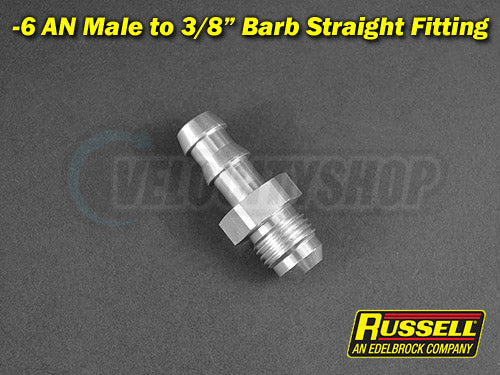 Russell -6 AN Male to 3/8 Barb Straight Fitting (Silver)