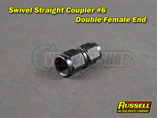 Russell Swivel Straight Coupler Fitting -6AN (double female end) Black