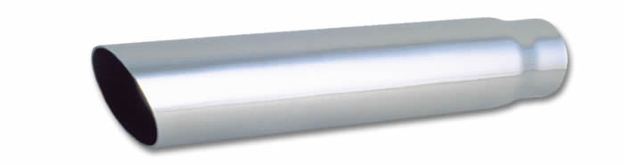 "3"" Round Stainless Steel Tip (Single Wall, Angle Cut) - 2.5"" inlet, 18"" long"