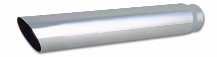 "4"" Round Stainless Steel Tip (Single Wall, Angle Cut) - 2.5"" inlet, 20"" long"