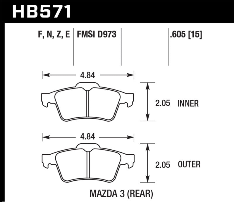 Hawk Performance HPS Brake Pad Sets HB571F.605