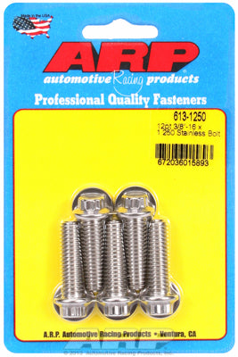 613-1250 | ARP 3/8in x 16 - 1.25in UHL 12pt SS Bolt Kit (5/pkg)