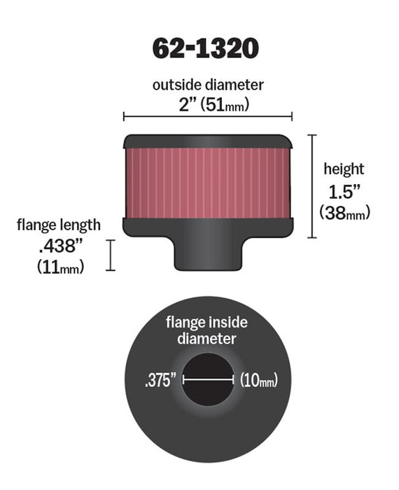 "K&N Clamp On Rubber Base Crankcase Vent Filter 0.375"" Flange ID x 2"" OD x 1.5"" Height"