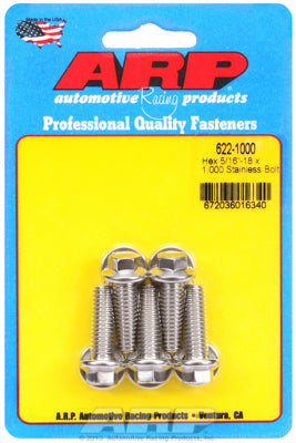 622-1000 | ARP 5/16in x 18 - 1in UHL SS Hex Bolt Kit (5/pkg)
