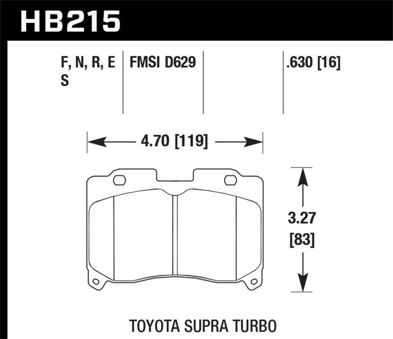 Hawk Performance HP+ Brake Pad Sets HB215N.630
