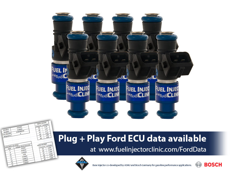 IS404-1650H | Fuel Injector Clinic Injector Set (High-Z) 1650cc (160 lbs/hr at 43.5 PSI fuel pressure) for Ford Shelby GT500 (2007-2014) / Ford GT40 (2005-2006)(High-Z)