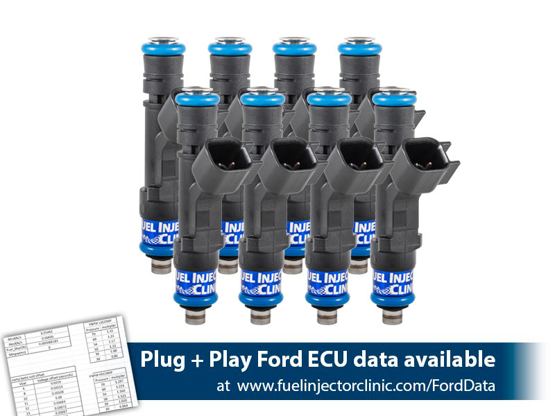 IS406-0525H | Fuel Injector Clinic Injector Set 525cc (50 lbs/hr at 43.5 PSI fuel pressure) for Ford F150 (1985-2003)/Ford Lightning (1993-1995)