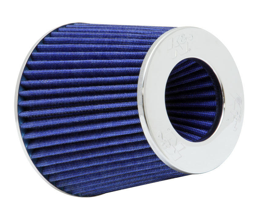 "K&N Universal Air Filter Chrome Round Tapered Blue - 4"" Flange ID x 1.125"" Flange Length x 5.5"" H"