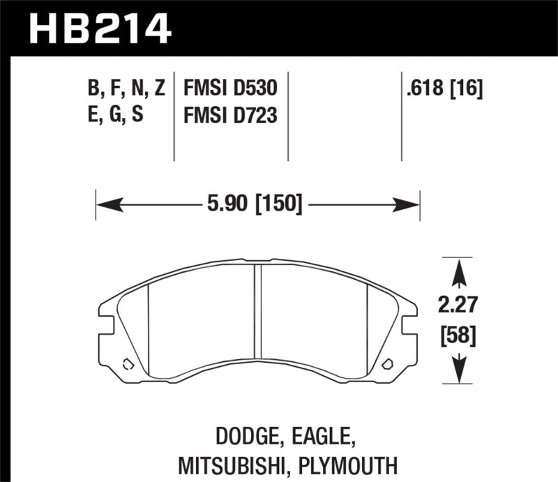 Hawk Performance HP+ Brake Pad Sets HB214N.618